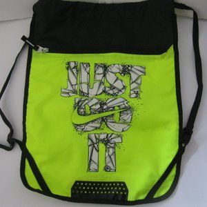 Nike Neon Yellow Drawstring Backpack - Just Do It
